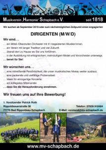 """Musikverein """"Harmonie"""" Schapbach e.V - Dirigent gesucht"""