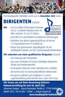 Musikkapelle Hofstetten Stellenanzeige Dirigent
